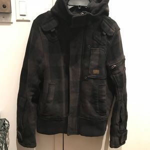 G STAR RAW Jacket Coat Plaid Wool Bomber S/M